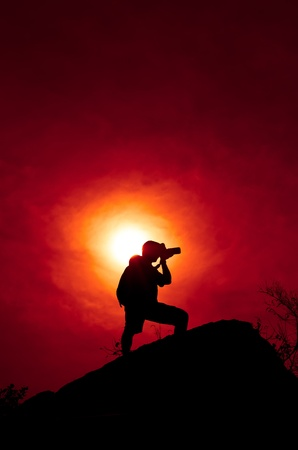 Photographer with sillouette in Hua Hin Beach Stock Photo - 12782357