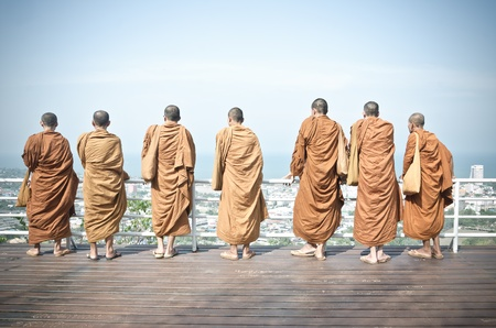 Grop of Monks at Hin Lek Fai, Hua Hin Thailand