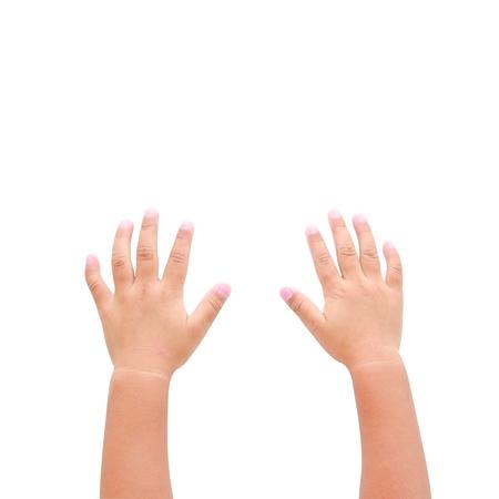manos levantadas: Manos derecha e izquierda que piden ayuda sobre fondo azul Foto de archivo