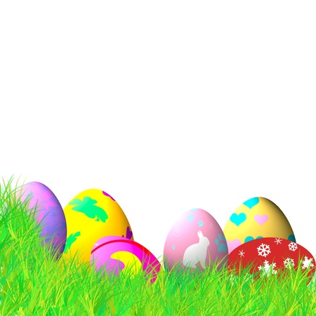 Colorful easter eggs on blue sky background with snow flake photo