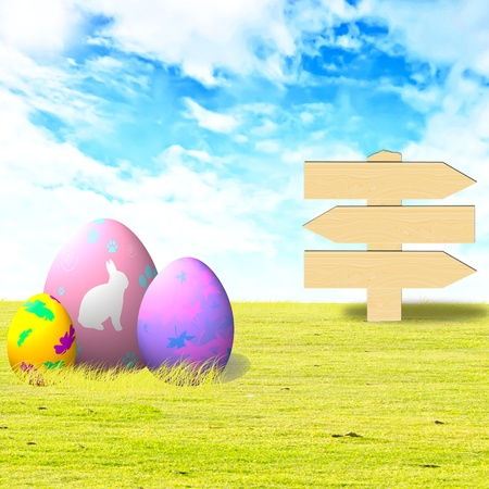 Three decorated easter eggs on green grass with wooden board photo