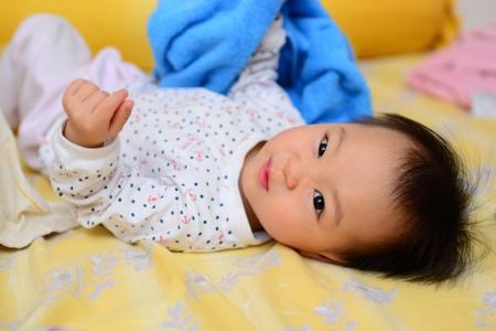 A shot of a cute asian baby girl Standard-Bild