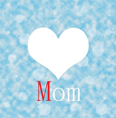 Love Mon with red and white heart shape on blue cloud background