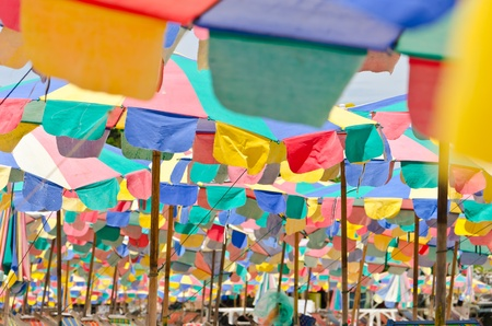 Texture of  colorful umbrella on the beach , Phuket Thailand photo