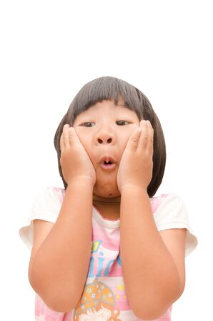 A portrait of a cute Asian young girl who is very excited   Stock Photo - 13540070