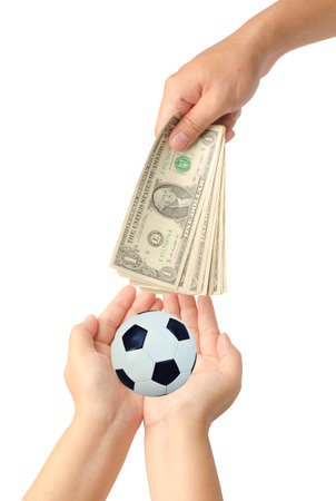 Hand give dollars for soccer on white background ,concept photo