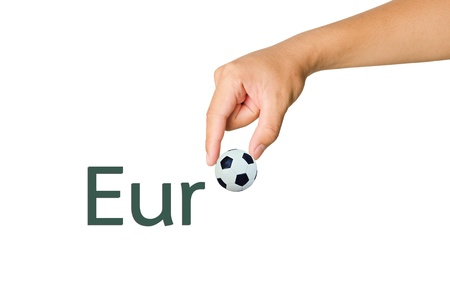 attention grabbing: Hand choose ball from fonts of Euro on white background Stock Photo