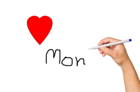 hand writing with make for love mom, mother Stock Photo - 13548772