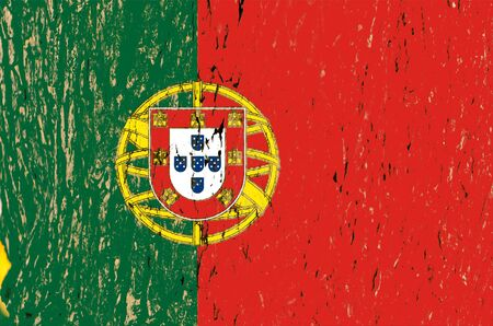 Flag of Portugal  A flag of Portugal with a tree texture  photo