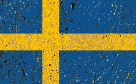 sweden flag on old wood background  photo