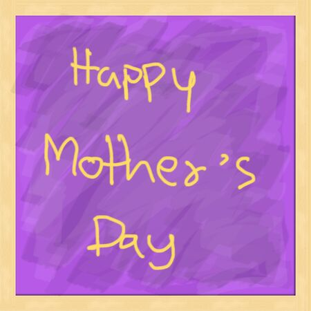Happy Mothers Day with chalk on a purple board  photo