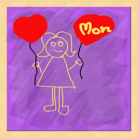 Love mom on purple chalkboard photo
