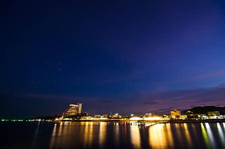 Stock Photo  After sun set time at Hua-Hin beach with firework in Thailand photo