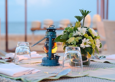 Romantic set up dinner table set processed by vintage stlye photo