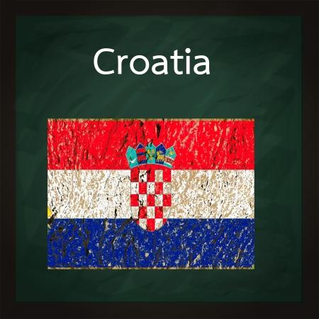bandiera croazia: quadrato verde lavagna con la Croazia bandiera Archivio Fotografico