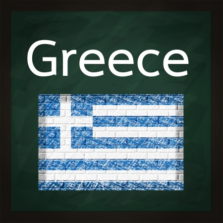 square green chalkboard with Greece map photo