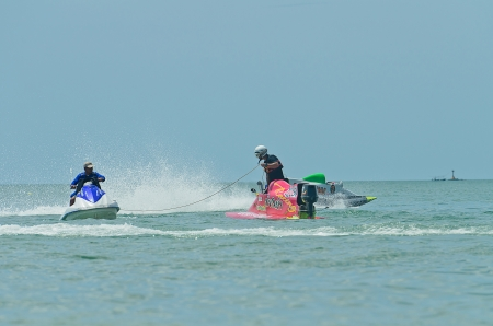 HUAHIN, THAILAND - JUNE 24 : Unidentified rider pumps up his machine during HuaHin Jet Ski Racing Championships on June 24, 2012 in Hua Hin, Thailand Stock Photo - 14148725