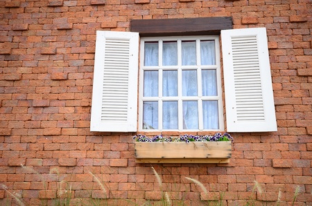 Brick Wall with White Window and flowers Stock Photo - 14508025