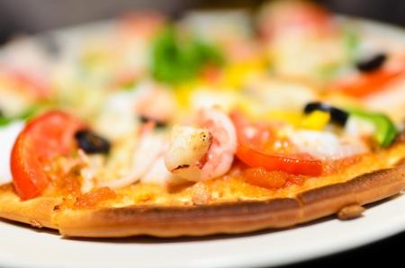 dept: Hot shrimp pizza with dept of field Stock Photo