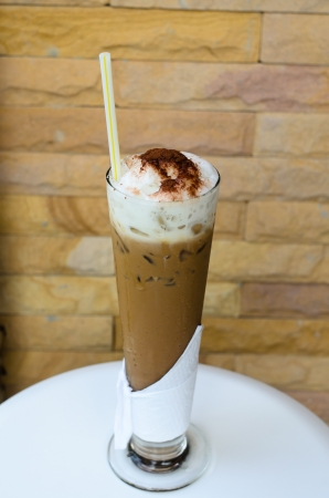 frappe: Ice coffee on white table