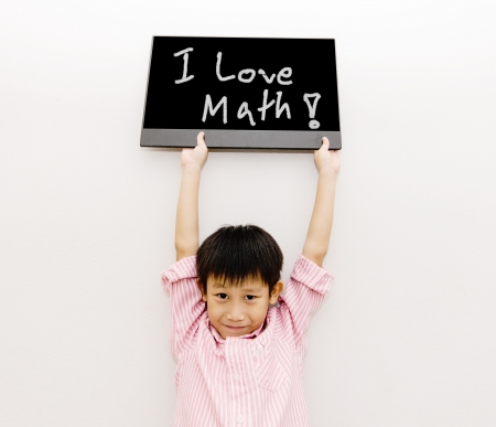 Asian boy with black board