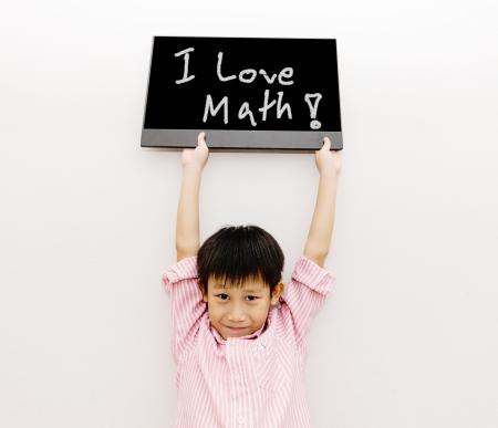 Asian Junge mit schwarzen Brett Lizenzfreie Bilder