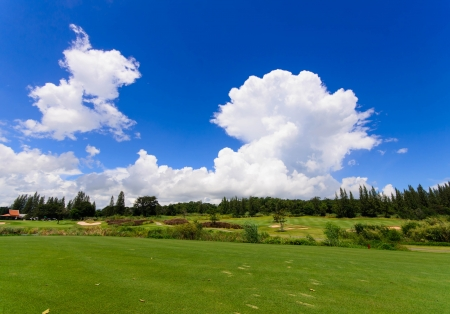 landscape of a beautiful green golf course with sky photo