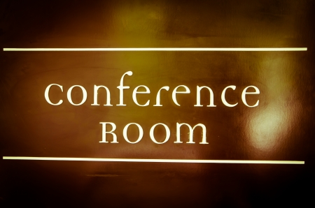 Conference Room sign board process in vintage style photo