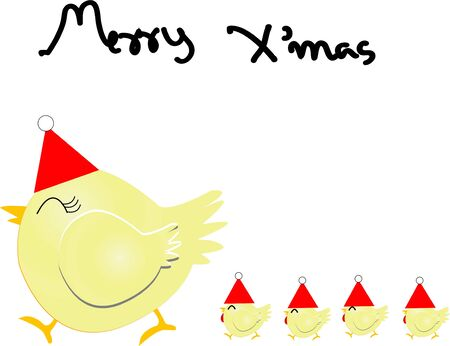 year of rooster: Merry Chirstmas con pollo familia Vectores