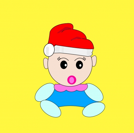 cute baby with santa hat Stock Vector - 16170270