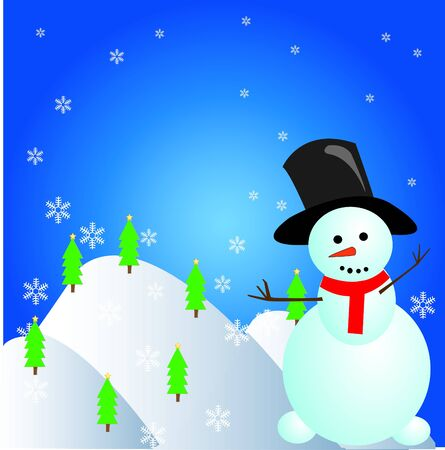 snow tree with snowman Vector