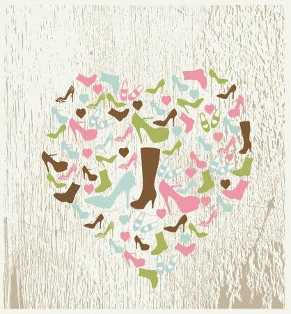 shoes with heart shape Vector