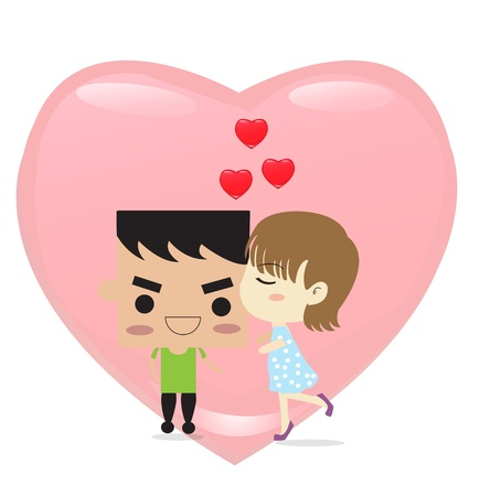 Boy kiss girl and big heart shape,  for valentine concept Stock Vector - 18124212