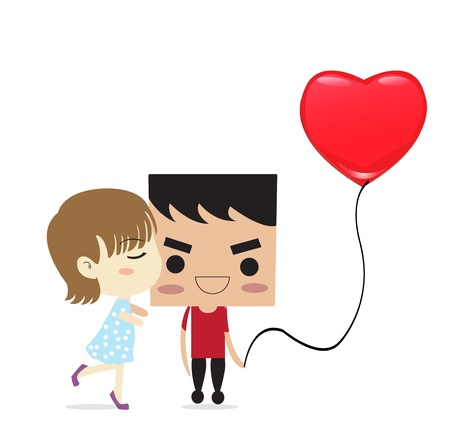Abstract illustration of a a boy and a girl on a heart shape background  Vector