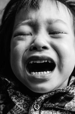 Kid crying black and white Stock Photo - 18092148