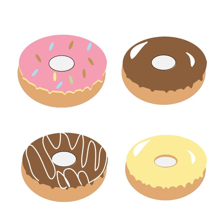donuts on white background  Vector