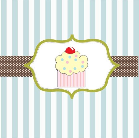 cupcake invitation background  Stock Vector - 18117414