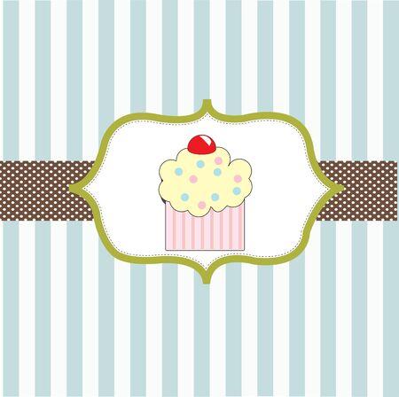 cupcake invitation background Stock Vector - 18117414
