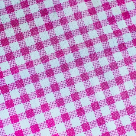 Pink checked fabric tablecloth photo