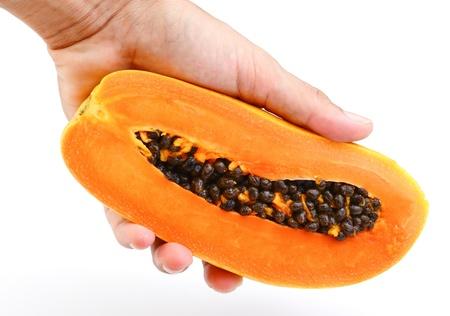 cutaneous: Hand holding Papaya on white background Stock Photo
