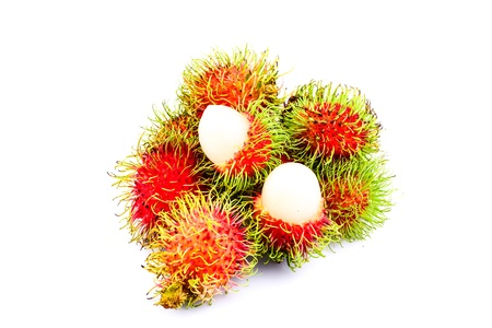 Rambutans on white background photo