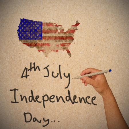 Hand writing for Independence Day, 4 th of July   photo