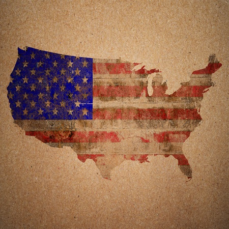 American flag on a map of the USA in vintage style photo