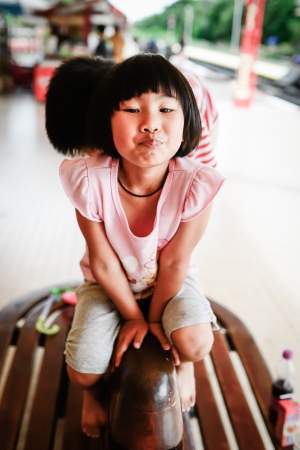 Adorable little girl - shallow DOF, focus on eyes photo