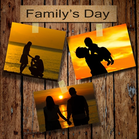 Family days with three silhouette pictures on grunge wooden background Stock Photo - 21860836