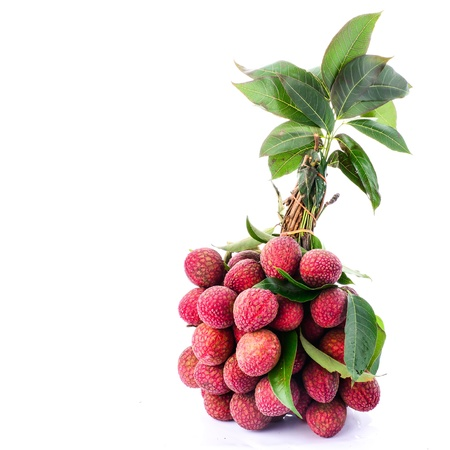 lichee: Fresh of litchi fruit isolated on white background