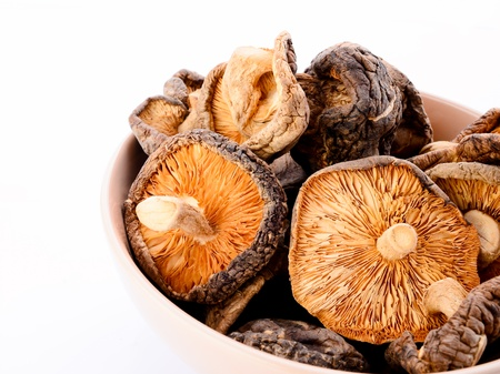 Dry Mushrooms in bowl isolated on white background. Selective focus photo