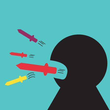 mal aliento: Hombre que habla con los cuchillos de su boca. Concepto de comunicaci�n mal. Vectores