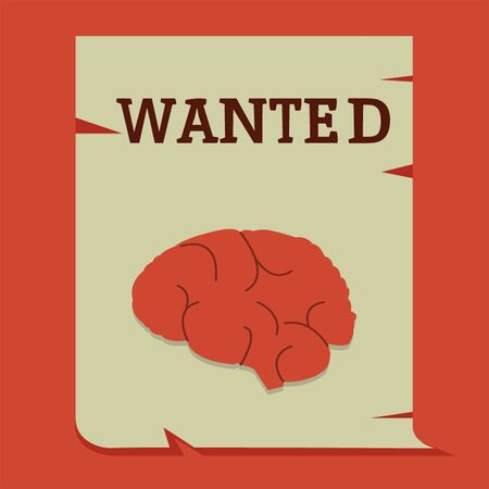 Brain on wanted paper Illustration