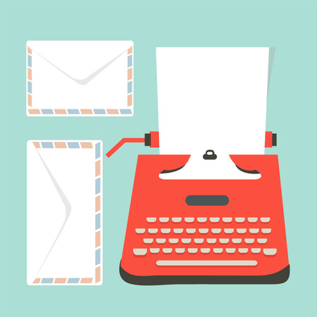 envelopes, Mid century illustration with retro typewriter and paper sheet  Vector